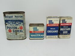 Vintage Lot Of Mccormick's Spice Tin And Boxes Postum Cereal Advertising