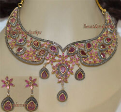 Antique Rose Cut Diamond 7.18ct Beautiful Ruby Christmas Party Wear Necklace Set