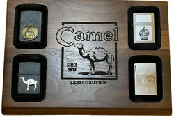 4 Zippo Camel Lighters In Wood Display All New With Boxes