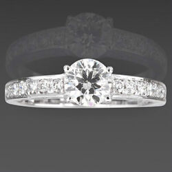 Diamond Ring Solitaire And Accents Filigree 1.26 Carats 18k White Gold Women