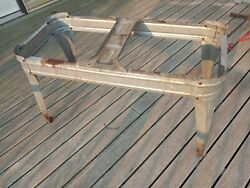 Vintage Wheeling Double Basin Wash Tub Stand Only Metal Galvanized Rustic