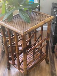 Bamboo Tortious Shell Rattan Wicker Magazine Book Rack Side/end Accent Table