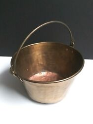 Antique Brass Plated Copper Open Hearth Hanging Cooking Pot W/ Handle