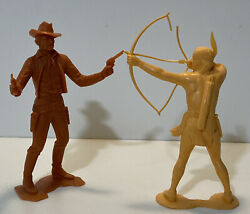 """2 Vintage Louis Marx Cowboy And Indian Toy Figures 6"""""""