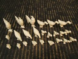 Farm Animals Lot Of 24 White 5 Poses Marx Playset Chickens And Ducks