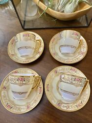 Mint Minton Marshall Field Andco. Gold And Roses Cup And Saucer Demitasse