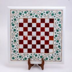 Marble White Top Chess Inlaid Set With Wooden Stand Carnelian Mosaic Inlaid Arts