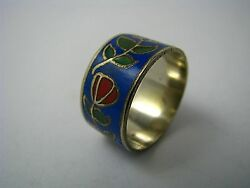 Handcrafted Champleve Cloisonne Enamel Ring Asia China 1950s Us Size 7 New Box