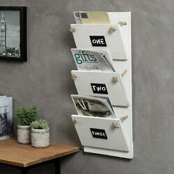 Mygift 3 Slot Vintage White Wood Mail Magazine Wall Rack With Chalkboard Labels