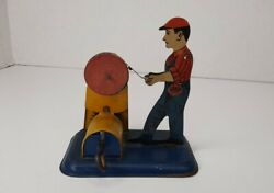 Antique Girard Model Works Wood's Mechanical Toys Wind Up Tin Litho Toy Works