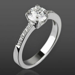 Diamond Ring Solitaire Accented 1.17 Ct Vs Round Real 4 Prong 18k White Gold