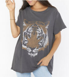 Show Me Your Mumu Oversized Airport Tee Tiger Head Graphic Top Gray Womenandrsquos S