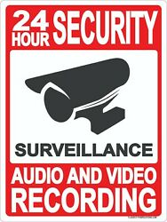 24 Hour Security Sign 9x12 Metal Surveillance Audio And Video Recording