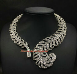 Art Deco Antique Rose Cut Diamond 10.18ct Wedding Party Style Choker And Necklace