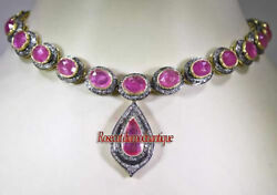 Art Deco 15.76ct Antique Rose Cut Diamond Sterling Silver Wedding Ruby Necklace