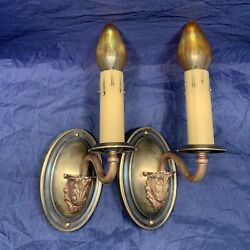 Wired Pair Antique Brass Sconces Electric Candles 97f