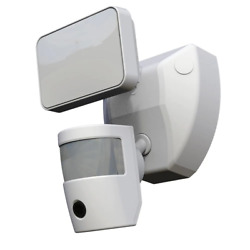 Video Wi-fi Connected White Wired Single Head Motion Activated Outdoor Security