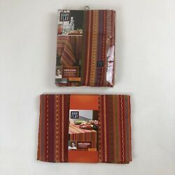 Nip Bobby Flay Serape Multi-colored Striped Oblong Tablecloth And Matching Runner