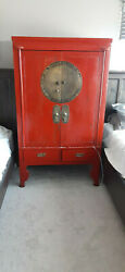 Circa 1880-1910 Antique Chinese Red Lacquered Ming Style Wedding Cabinet