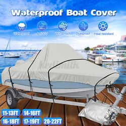 Waterproof 17and039 22and039 Boat Cover For Trailerable Fishing Dinghy Motorboat Gbt2q