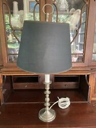Vtg Baldwin Brass 24andrdquo Pewter Colonial Williamsburg Candlestick Table Lamp Finial