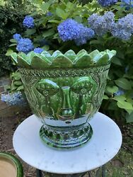 """14.5""""h Anduze French Planter Abstract Eclectic Face Decorative Green Pot Urn"""