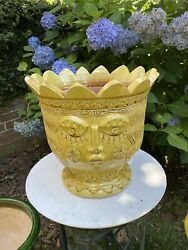 """14.5""""h Anduze French Planter Abstract Eclectic Face Decorative Yellow Pot Urn"""