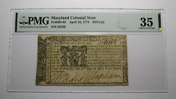 1774 2/9 Annapolis Maryland Md Colonial Currency Bank Note Bill Choice Vf35 Pmg