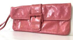 $117 HOBO International Audrey Pink Distressed Leather Wristlet Clutch $20.00