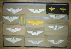 Authentic Ww2 Us Army Air Corps Wings Collection Khaki Cloth Patches All No Glow