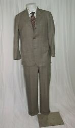 Fabrizio New York Gray Pow Plaid Flannel Weight Three Button Hacking Suit 38r