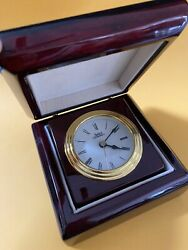 Vintage Selco Geneve Rosewood Desk Clock Trip Mini Watches In Box Gift Rewards