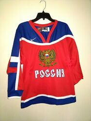 Vintage Nike Russian Hockey Jersey Small 2004 Olympics Sewn Stitched Red Blue