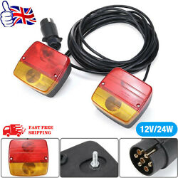 12v 7m Cable Magnetic Trailer Towing Lights Rear Tail Board Lamps Stop Car Van