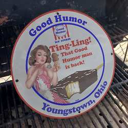 Vintage 1932 Good Humor And039and039ting-lingand039and039 Ice Cream Porcelain Gas And Oil Pump Sign