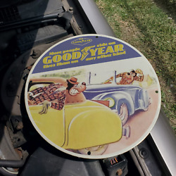 Vintage 1942 Goodyear Tire And Rubber Company Porcelain Gas And Oil Pump Sign