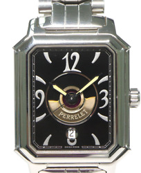 Perrelet Rectangle Royale Double Rotor Automatic Stainless Steel Black Dial Mens