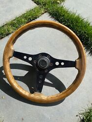 Vintage Bmw E10 2002tii Racemark Black Wood Steering Wheel Made In Italy