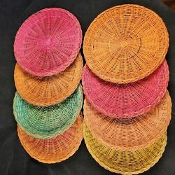 Vintage Wicker Color Paper Plate Holders Rattan Picnic Bbq Camping Lot 8