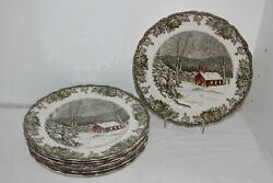 8 Johnson Brothers Friendly Village 10 The Schoolhouse Dinner Plates-england