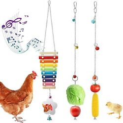 Pawaboo Chicken Xylophone Toys Hanging Feeder Pecking Toy W/ Bells For Hens Cock