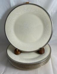 Set Of 6 Lenox Moonspun Salad Plates Made In Usa Discontinued Pattern
