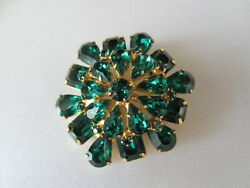 Vintage Signed Weiss Beautiful Green Rhinestone Pin Or Brooch