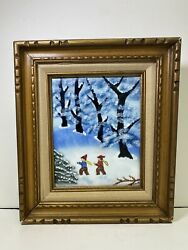 Hand Painted Enamel On Copper Signed J. Polk Snow Scene Two People Playing