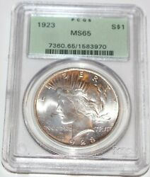 1923-p Peace Dollar Pcgs Ms-65 Great Satin Luster Brilliant Uncirculated Ogh