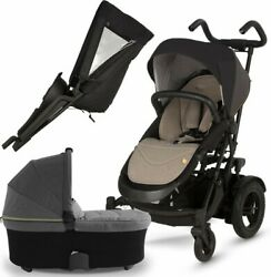 Micralite Two Fold Baby Stroller With Infant Bassinet Carriage Pram Boy Combo