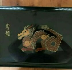 Rare Large Mid Century Couroc Gold Inlay Dragon Tray - Great Quality And Details