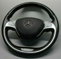 Mercedes-benz Oem W222 S-class 2014-16 Piano Black And Leather Steering Wheel New