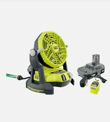 One+ 18-volt New Ryobİ Portable Bucket Top Misting Fan Kit W/ Battery And Charger