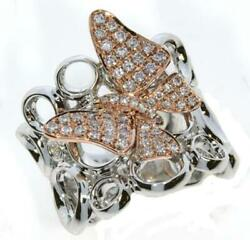 Large .56ct White And Pink Diamond 18kt White And Rose Gold 3d Butterfly Love Ring